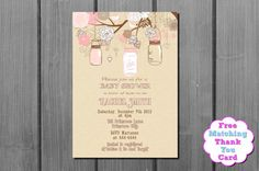 Rustic Burlap Shabby Chic Baby Shower Invitation and FREE Thank You Card Printable DIY on Etsy, $10.00