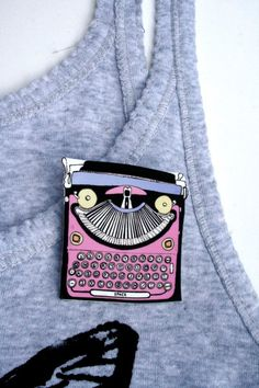 Type Writer Brooch or Pendant in Candy Pink- Gadget Series