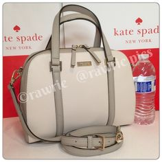 "New Kate Spade felix saffiano leather satchel gray 100% authentic. Cream white and gray saffiano leather with 14-karat light gold plated hardware and protective metal feet. Inside zip and slip pockets. Zip top closure and fabric lining. Handles drop 4.5"". Longer detachable and adjustable strap. Measures 11.5"" (L) x 8.5"" (H) x 4.5"" (W). Brand new with tags. Comes from a pet and smoke free home. Kate Spade shopping bag included. kate spade Bags Satchels"