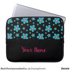 Black Floral personalized Laptop sleeve Custom Laptop, Party Hats, Laptop Sleeves, Kids Shop, Floral, Bags, Handbags, Flowers, Flower