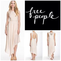 """Free People Afternoon Delight Dress.  NWT. Free People Shell (Soft Pink) Afternoon Delight Dress, 85% rayon, 25% linen, washable, 17"""" armpit to armpit, 34"""" (all around), 28"""" unstretched waist which stretches up to 34"""", 37"""" shortest length, 50"""" longest length, soft jersey, delicate crochet lace trim at shoulders, asymmetrical hemline, round neckline, braided straps at waist cross at back, elastercized waist, lined, side split, measurements are approx.  No PayPal....No Trades... Free People…"""