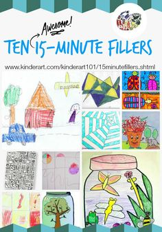 KinderArt 101 - 15 Minute Fillers. Elementary school, Middle school, High school. KinderArt.com