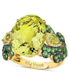 The tart combination of Lime Quartz and Green Apple Peridot with a hint of Vanilla Diamonds and Honey Gold make going green even juicier.