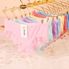 [Quecoo] 2015 explosion models Girl Series Solid XL cute cotton underwear women sexy lace panties Women's Panties