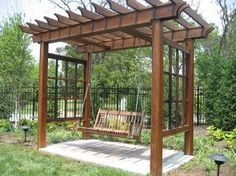 There are many type of pergola arbor swing set plans and options, as its create a great leisure environment in your garden or backyard. Children really like to enjoy the hammocks in the gardens, and the swing set of hammocks under the pergola arbor. Diy Pergola, Small Pergola, Pergola Attached To House, Wooden Pergola, Outdoor Pergola, Pergola Ideas, Small Patio, Outdoor Swings, Metal Pergola