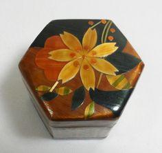Fenton trinket box | ... Lacquer Folk Art India Floral Inlay Wooden Octagon Trinket Jewelry Box
