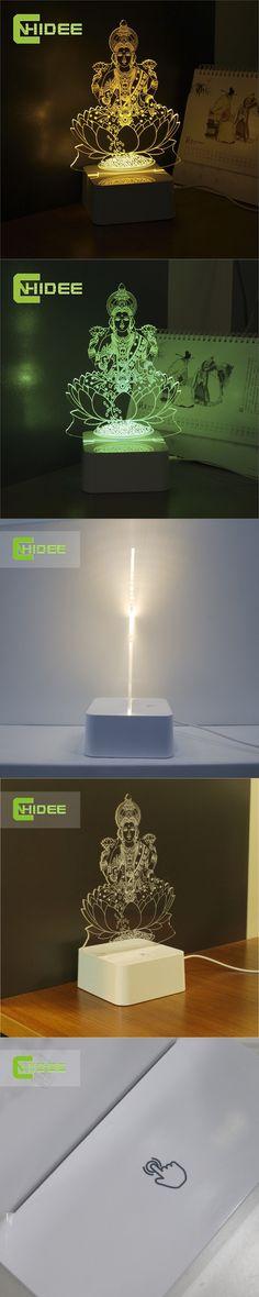 CNHIDEE Novel Engraved Table 3d LED Light Home Decor Fairy Lamp Lakshmi Night Mission Led RGB Tafellamp Lampade Da Tavolo $24.5