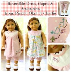 This is Part 1 of a 3 part pattern & tutorials mini series for an 18 inch doll outfit.     Part 1 is the reversible dress patte...