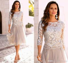 2017 New Elegant 3/4 Long Sleeves Lace Short Mother 'Dresses Lace Top Tulle Knee Length A Line Formal Party Evening Mother Dresses