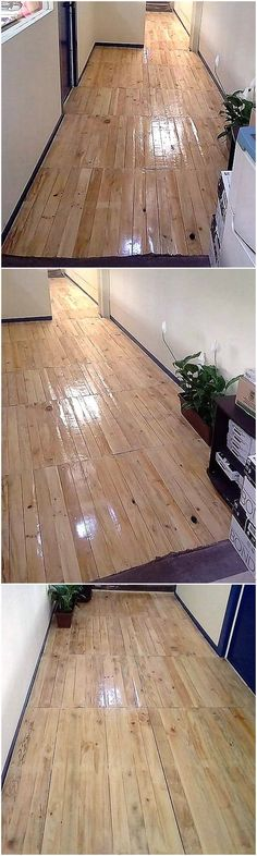 Enjoy the unbelievable shine in your house with the charming designing of this elegant pallets wooden flooring idea. This awesome settlement of the wo. Diy Pallet Wall, Wooden Pallet Projects, Wood Pallet Furniture, Wooden Pallets, Pallet Ideas, Repurposed Wood, Recycled Wood, Rustic Cupcake Stands, Creating An Entryway