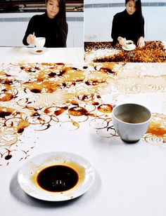 """""""Shanghai-based artist Hong Yi, a/k/a """"Red Hong"""" enjoys drawing with anything but traditional drawing utensils, having used sunflower seeds, ketchup, milk, and salt, among other things. Her latest work is a portrait of Taiwanese pop star Jay Chou drawn using coffee cup rings."""""""