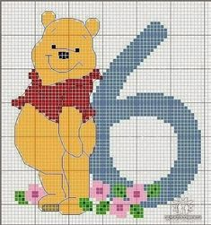 Winnie the pooh 6 cross stitch chart Cross Stitch Numbers, Cross Stitch Letters, Cross Stitch For Kids, Cross Stitch Boards, Cross Stitch Art, Beaded Cross Stitch, Cross Stitch Designs, Cross Stitching, Cross Stitch Embroidery
