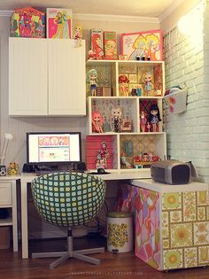 Barbie home office  (This is by Danielle T. and I just LOVE it! So much detail and inspiration. - jk :)