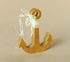 Gold Glitter wedding decor gold Anchor wedding by WoodArtPlace