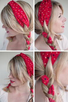 Simple Easy Braided Daily Hairstyle for pigtails. Just use any small piece of fabric/ small scarf and you'll be able to rock this look with a jeans dress or almost anything light in color.  The pigtail is a versatile hairstyle that takes its name from the short, curly tail of a pig. Pigtails are springy and stand upright out from the head. You can adapt almost any kind of hair to the style.