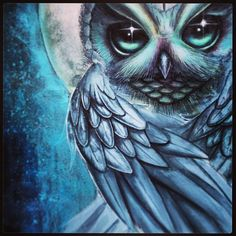 Blue owl in a full moon