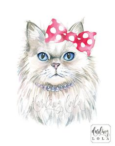 Princess Persian Cat Art print. This is a print of my original watercolor illustration. Print Details: Available in 8x10 or 11x14 inches.
