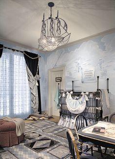 Home Decor - Baby Nurseries and Things Babies Need - Columbus themed boy's nursery - LOVE the custom crystal ship chandelier