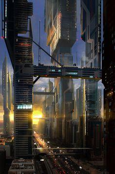 Sci-fi cityscape by Lino Drieghe