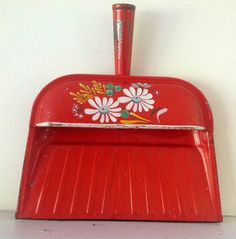 Vintage Ransburg  Dust Pan red orange Kitchen by GrungeBunnyStudio, $28.50