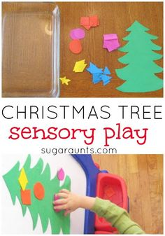 Christmas Tree creation station with a sensory twist.  Plus, work on color identification, shape identification, and fine motor skills.