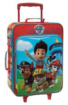 Maleta de viaje infantil de la Patrulla Canina, es blanda con dos ruedas, dispone de bolsillo delantero y se envía gratis a casa en un solo día.