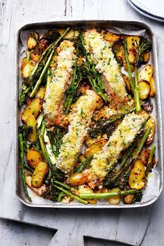 Breadcrumbs and al dente veg add bite to an easy fish supper