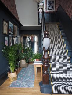 Should I Add a Carpet or Rug Runner to My Mountain House Staircase? – [pin_pinter_full_name] Should I Add a Carpet or Rug Runner to My Mountain House Staircase? Black and White stair runner w… Staircase Runner, House Staircase, Staircase Design, Carpet Runners For Stairs, Stair Runner Rods, Craftsman Staircase, Staircase Storage, White Staircase, Entryway Stairs