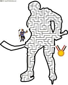 Hockey Maze: Guide the hockey player thru the maze to become a winner. Hockey Tournaments, Hockey Players, Hockey Birthday Parties, Hockey Party, Olympic Idea, Olympic Games, Hockey Girls, Hockey Mom, Winter Olympics