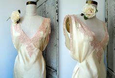 """Vintage lingerie celadon silk crepe satin bias slip gown /w/ nude lace trim & satin ribbon tie back, 36"""" bust"""