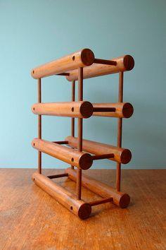 Vintage Nissen Danish Modern Teak Wine Rack