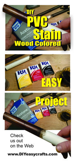 DIY How to Satin PVC with dye so it looks like wood. Using only inexpensive materials found at any local arts and craft or hardware store this method obtains a wood like finish complete with the appearance of wood grain. Unlike paint this stain penetrates into the PVC for a durable long lasting finish. http://www.diyeasycrafts.com/