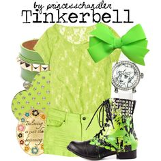 """Lime Green with combat boots!  """"Tinkerbell"""" by princesschandler on Polyvore"""