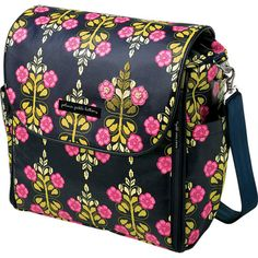 Petunia Pickle Bottom Siesta in Sevilla Boxy - stylish diaper bag or carrier bag. Black with pink flowers. #mom #baby Great gift idea for a baby shower. Carry everything you need for babies or toddlers.