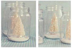 Super cute and all you need is    •glass jar  •sugar  •miniature trees, figures, Santa, etc.  (My dollar store has a bunch of these right now.  You might want to check there first!)  •extras – glitter, snow spray