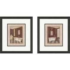 Pro Tour Memorabilia Bath Luxury Bath Framed Art (Set of 2) - 1-6876