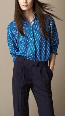 Polka Dot Cotton Linen Shirt Burberry Chemise, Burberry Shirt, Ruffle  Sleeve, Cotton Linen 52e7c118500