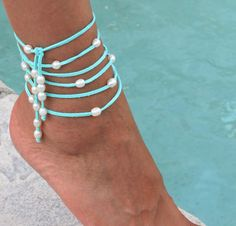 FRESHWATER Pearl Boho Multi Wrap Anklet / Bracelet / Lariat Necklace - AQUA Turquoise Faux Suede - 25 Pearls / 70 Cord - FITS All - Ref 431 via Etsy