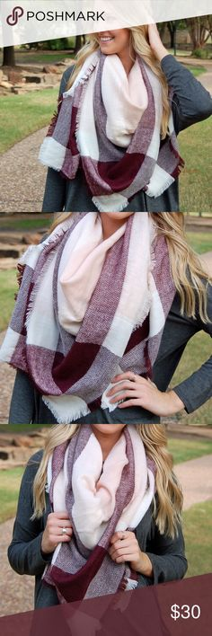 """❌ SOLD OUT❌NWT Blush Pink Maroon Blanket Scarf This large blanket scarf is one of the most popular items of the season! There are many ways to wear this staple piece, so the options are endless! These are the high quality scarves that are SOOO soft and are approximately 52""""x52""""! Also available in other colors, so check out my closet! Paperback Boutique Accessories Scarves & Wraps"""