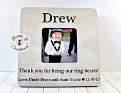 Ring Bearer Thank You Frame, Personalized Wedding Thank You, Thank you for being our Ring Bearer, Wedding Party Gift, Ring Bearer Gift