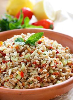 Farro with Feta, Cucumbers and Sun-dried Tomatoes Skinnytaste.com Servings: 4 • Serving Size: 1 cup •  Points +: 4 pts • Smart Points: 6 Calories: 241 • Fat: 6.5 g • Protein: 9.1 g • Carb: 39.1 g • Fiber: 5.8 g • Sugar: 1.9 g Sodium: 177.3 mg (without salt)