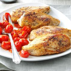 Balsamic Chicken with Roasted Tomatoes Recipe -This entree is a great way to savor fresh tomatoes, especially during the warm summer months. It's quite simple, but the sweet, tangy tomato glaze is just so good. —Karen Gehrig, Concord, North Carolina