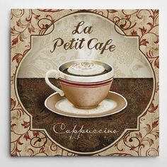 "WexfordHome Premium 'Cappuccino' by Conrad Knutsen Textual Art on Wrapped Canvas Size: 16"" H x 16"" W x 1.5"" D"