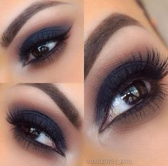 Smokey Eye Makeup Tips In Hindi Smokey Eyeliner Eye Makeup Tips, Smokey Eye Makeup, Makeup Goals, Skin Makeup, Makeup Kit, Navy Eye Makeup, Navy Eyeshadow, Makeup Geek, Makeup For Blue Dress