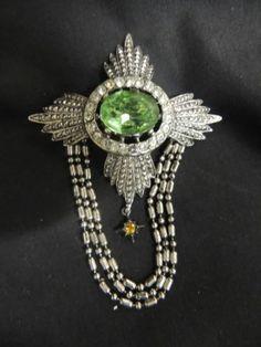 VTG Brooch Pin Silver Antique Style Royal Jewel Medal Chatelain Green Rhinestone