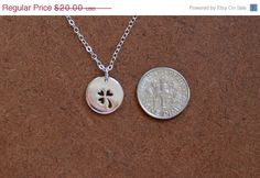 Sterling silver clover charm and 16 or 18 inch sterling silver chain