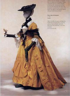 Robe á la Française, Yellow Silk Taffeta Dress, England c. 1760 (via Kyoto Costume Institute Digital Archives) 18th Century Dress, 18th Century Clothing, 18th Century Fashion, Historical Costume, Historical Clothing, Historical Dress, Mega Fashion, Vintage Outfits, Vintage Fashion