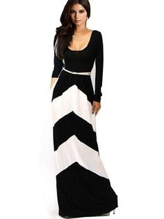 Chic Black and White Long Sleeve Maxi Dress! Love the blocking and length. Fashion Mode, Look Fashion, Womens Fashion, Feminine Fashion, Dress Fashion, Fashion Clothes, Fashion News, Fashion Trends, Maxi Dress With Sleeves