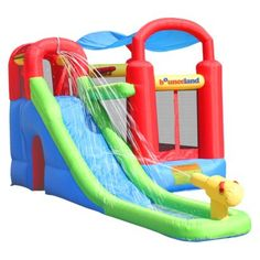 Bounce House Ball Pit For Kids With Water Slide Inflatable Backyard Playset Inflatable Bounce House, Inflatable Slide, Inflatable Bouncers, Water Slides, Pool Slides, Water Slide Bounce House, House Slide, Backyard Playset, Backyard Toys