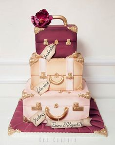Discover recipes, home ideas, style inspiration and other ideas to try. Pretty Cakes, Cute Cakes, Beautiful Cakes, Amazing Cakes, Luggage Cake, Suitcase Cake, Hat Box Cake, Bag Cake, Unique Cakes
